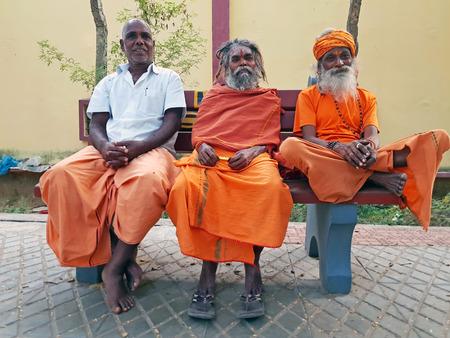 Tiruvanamalai, India - January 5, 2019: Sadhus in the streets from Tiruvanamalai in Tamil Nadu India
