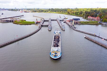 Aerial from a freighter at the 'Oranje sluizen' in Amsterdam the Netherlands