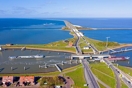 Aerial from sluices at Kornwerderzand in the Netherlands Stockfoto