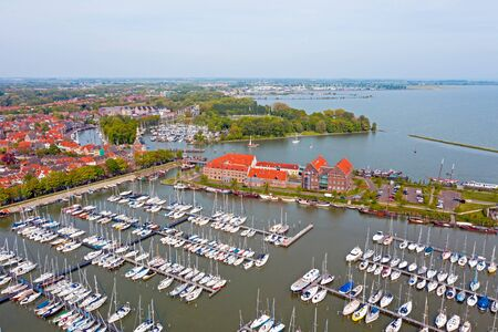 Aerial from the harbor from Enkhuizen in the Netherlands