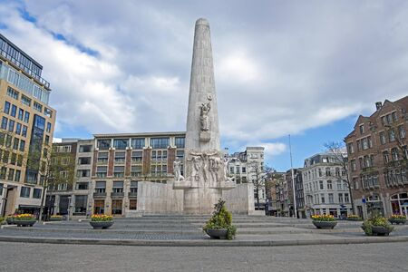 Monument on the Dam in Amsterdam in spring