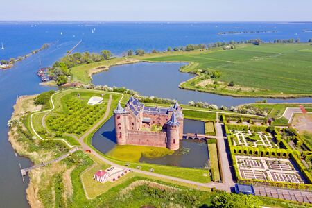 Aerial view from medieval castle 'Muiderslot' in Muiden the Netherlands Stockfoto