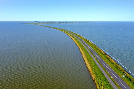 Aerial from the dyke to Marken at the IJsselmeer in the Netherlands