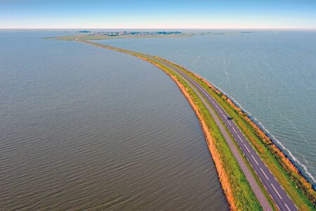 Aerial from the dyke near Marken between the Gouwzee and the IJsselmeer in the Netherlands 写真素材