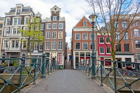 City scenic from Amsterdam at the Oude Zijdsvoorburgwal in the Netherlands