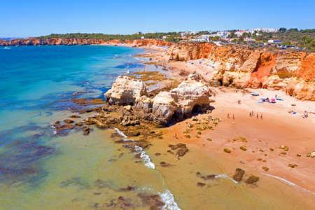 Aerial from Praia da Rocha near Portimao in the Algarve Portugal 免版税图像