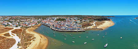 Aerial panorama from the village Ferragudo in the Algarve Portugal