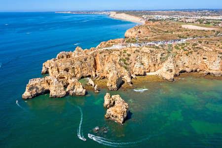Aerial from Ponte Piedade near Lagos in the Algarve Portugal