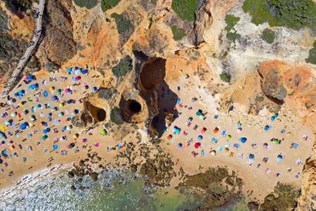 Aerial top shot from Praia do Camillo near Lagos in the Algarve Portugal