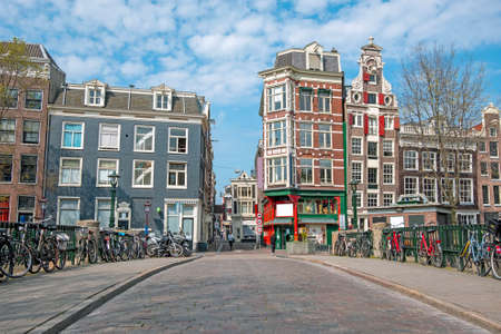 City scenic from Amsterdam at the Gelderse kade in the Netherlands