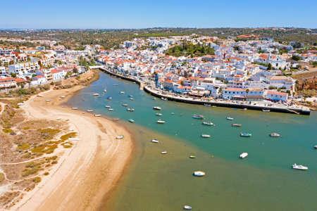Aerial from the village Ferragudo in the Algarve Portugal 免版税图像
