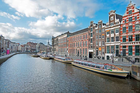 City scenic from Amsterdam at the Rokin in the Netherlands