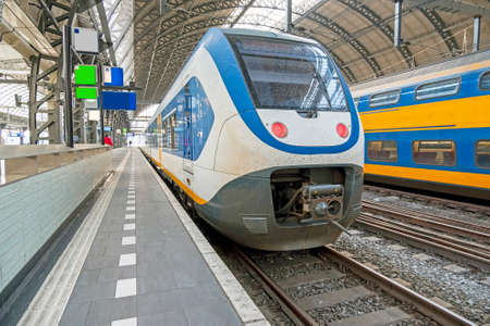 Train waiting at Central Station in Amsterdam the Netherlands