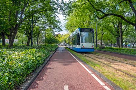 Tram at Roelof Hartplein in Amsterdam the Netherlands