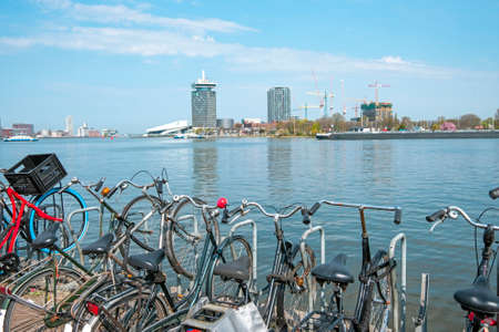 View on the harbor from Amsterdam in the Netherlands 免版税图像