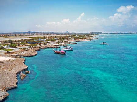 Aerial from Aruba island with Palm Beach in the Caribbean Sea
