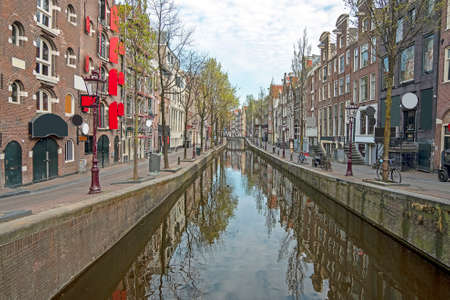 Red light district in Amsterdam the Netherlands during the Corona crisis