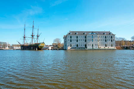 VOC ship and maritime museum in Amsterdam harbor in the Netherlands