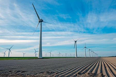 Windmills in the fields in the Netherlands 免版税图像