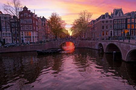 Beautiful sunset in Amsterdam the Netherlands 免版税图像