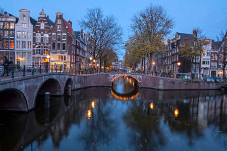 Beautiful sunset at the Keizersgracht in Amsterdam the Netherlands