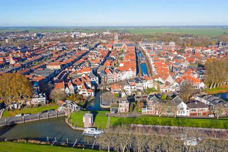 Aerial from the historical city Schoonhoven in the Netherlands 免版税图像