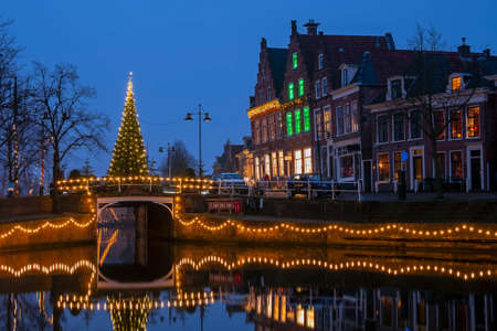 City scenic from the city Dokkum in christmas time in the Netherlands 免版税图像