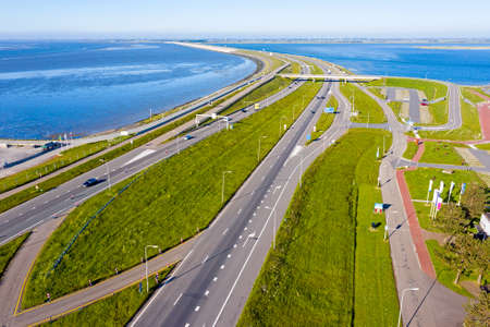 Aerial from the highway A7 at Kronwerderzand at the Afsluitdijk the Netherlands
