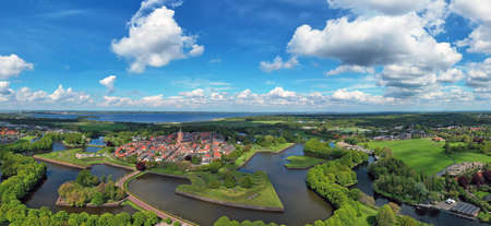 Aerial panorama from the medieval city Naarden in the Netherlands 免版税图像