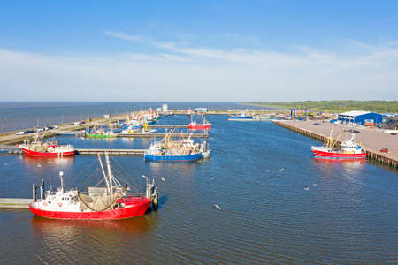 Aerial from the harbor from Lauwersoog in Friesland the Netherlands