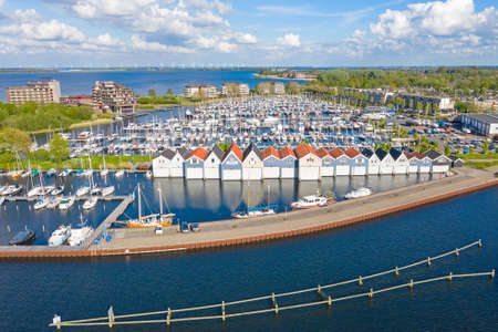 Aerial from the harbor from Huizen in the Netherlands