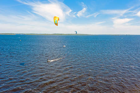 Aerial from kite surfing on Lauwersmeer in Friesland the Netherlands