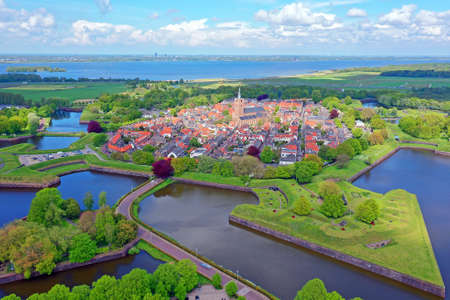 Aerial from the city Naarden in the Netherlands 免版税图像