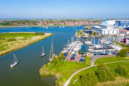 Aerial from the village and harbor from Workum in Friesland the Netherlands