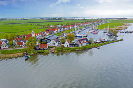 Aerial from the ancient village Durgerdam at the IJsselmeer in the Netherlands