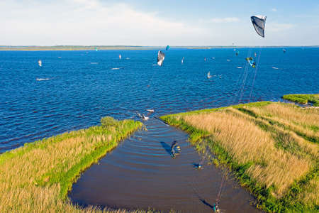 Aerial from watersports on Lauwersmeer in Friesland the Netherlands