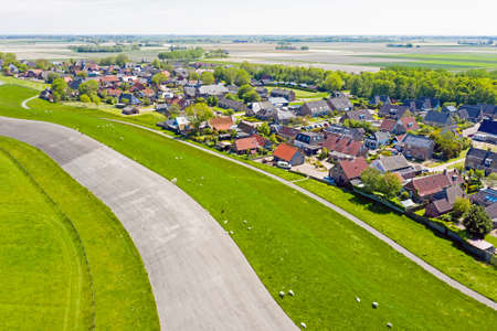 Aerial from the village Moddergat at the Wadden Sea in Friesland the Netherlands