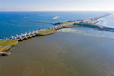 Aerial from sluices at Kronwerderzand at the Afsluitdijk in the Netherland