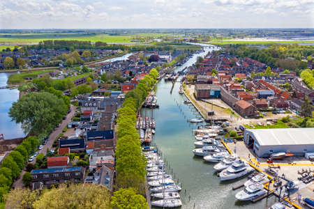 Aerial from the city Muiden in the Netherlands