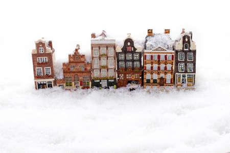 Amsterdam houses in the snow in winter in the Netherlands