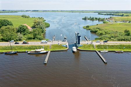 Aerial at the Heerenzijl bridge at the Sneekermeer in Friesland the Netherlands