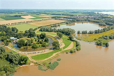 Aerial view from Fort Vuren near Woudrichem in the Netherlands in a flooded landscape
