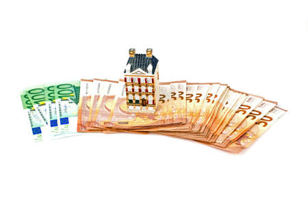 Euro banknotes for real estate concept 免版税图像