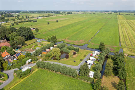 Aerial from a camping place in the countryside from the Netherlands