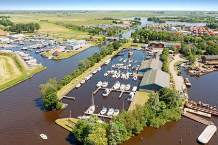 Aerial from the harbor from Terherne in Friesland the Netherlands