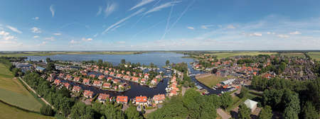 Aerial panorama from the village Langweer in Friesland the Netherlands 免版税图像