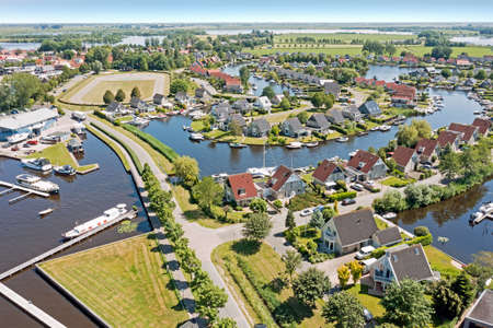 Aerial from the city Terherne in Friesland the Netherlands