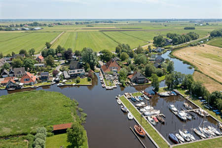 Aerial from the harbor in Goingarijp at the Sneekermeer in Friesland the Netherlands