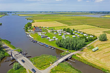 Aerial view from the Hegermeer in Friesland the Netherlands