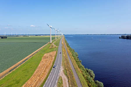 Aerial from wind turbines at the Eenmeer in the Netherlands 免版税图像